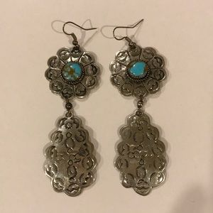 Vintage turquoise earrings. Indian style🌟